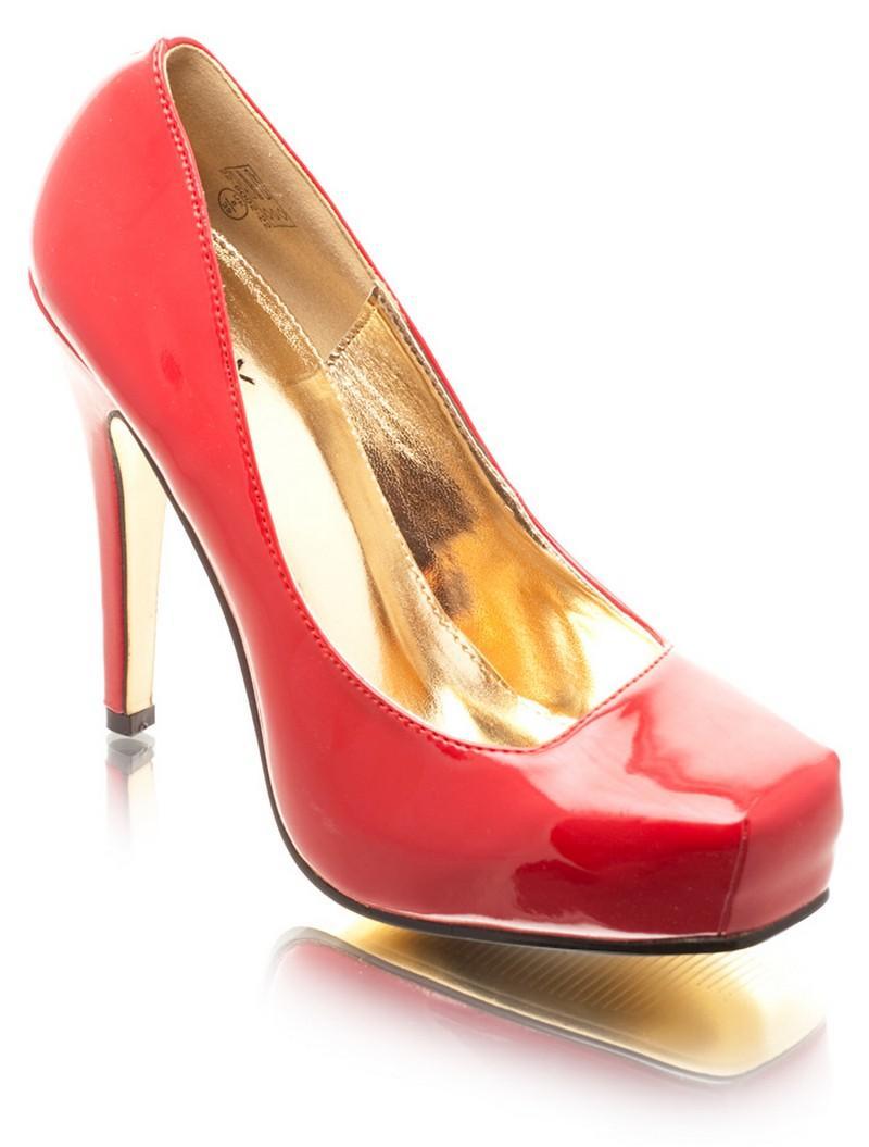 czerwone szpilki DeeZee lakierowane - wieczorowe obuwie