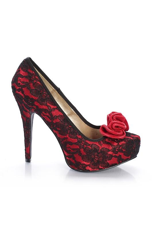 czerwone szpilki Qupid z koronką - wieczorowe obuwie