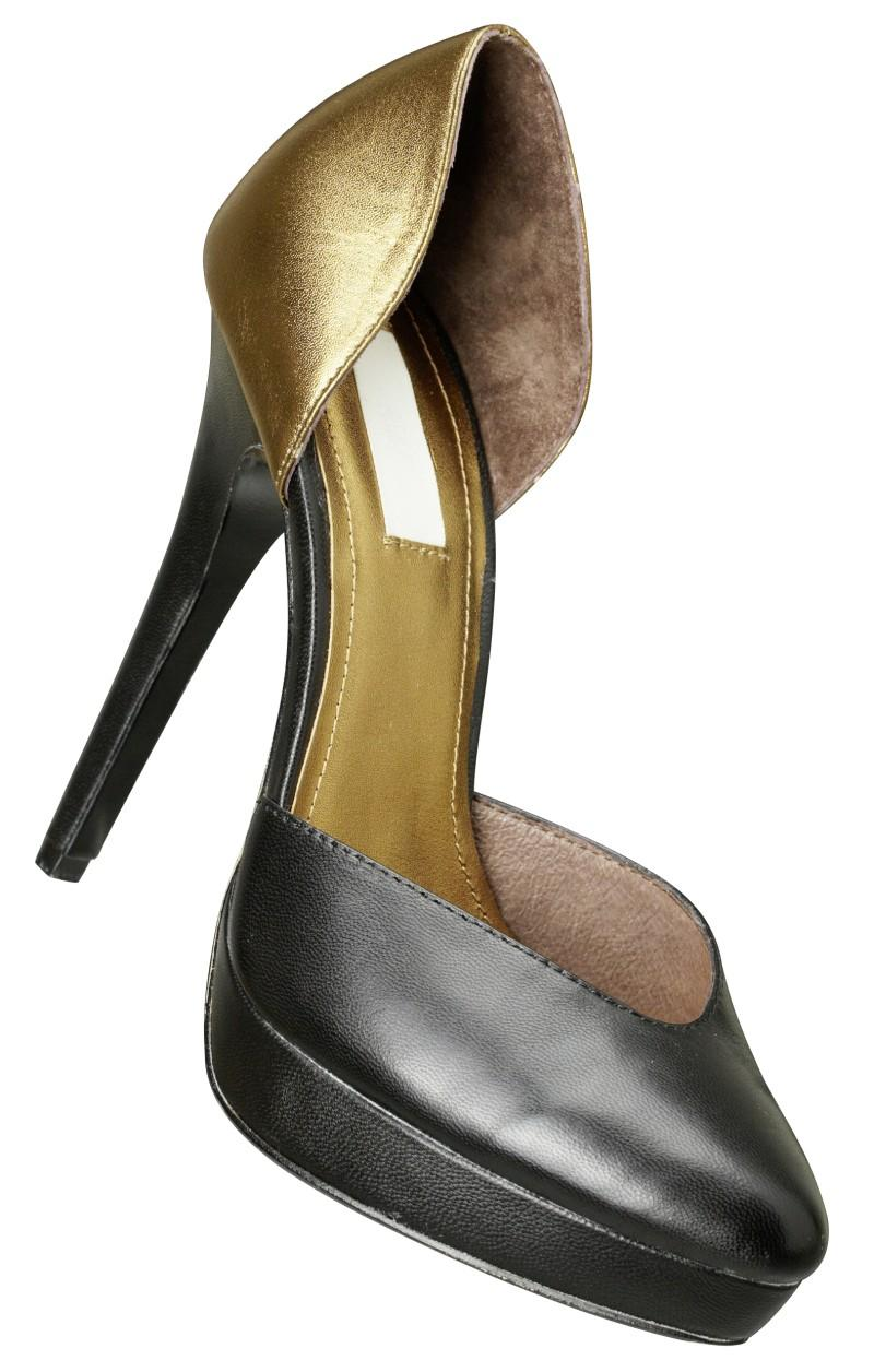 złote szpilki H&M - wieczorowe obuwie