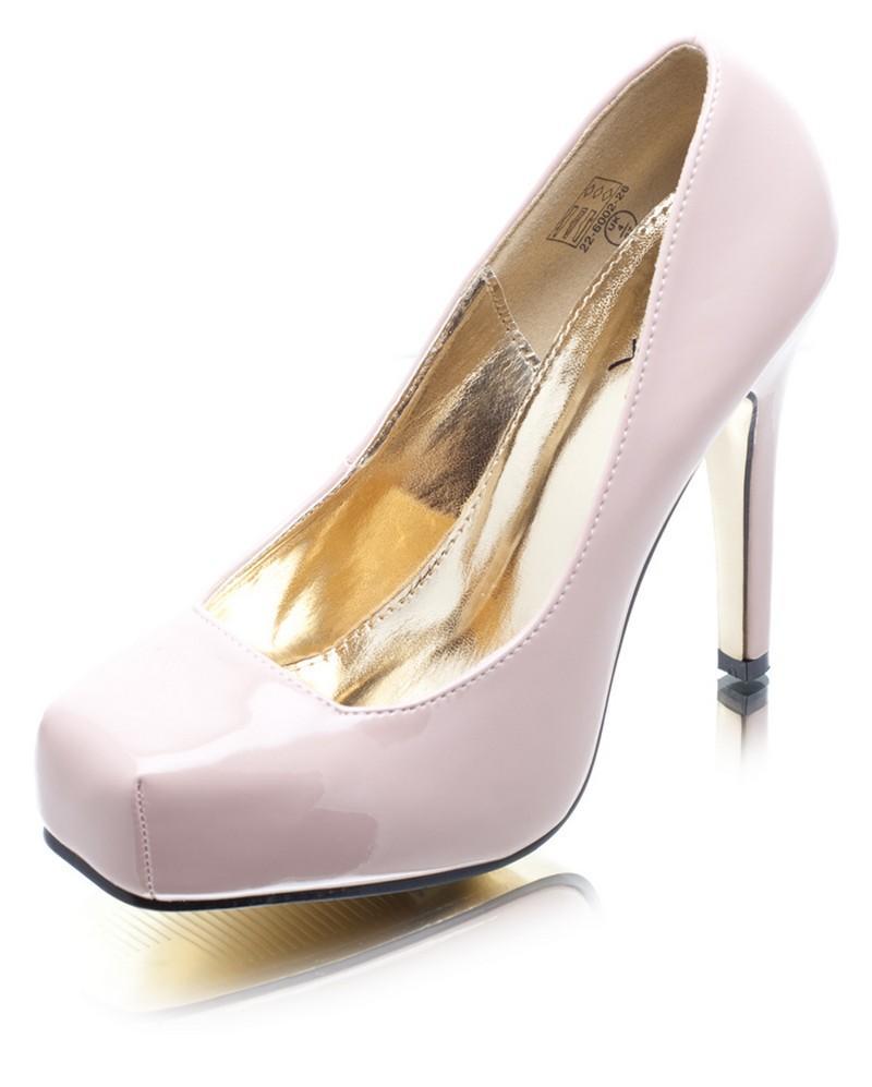 różowe szpilki DeeZee ze skóry - wieczorowe obuwie