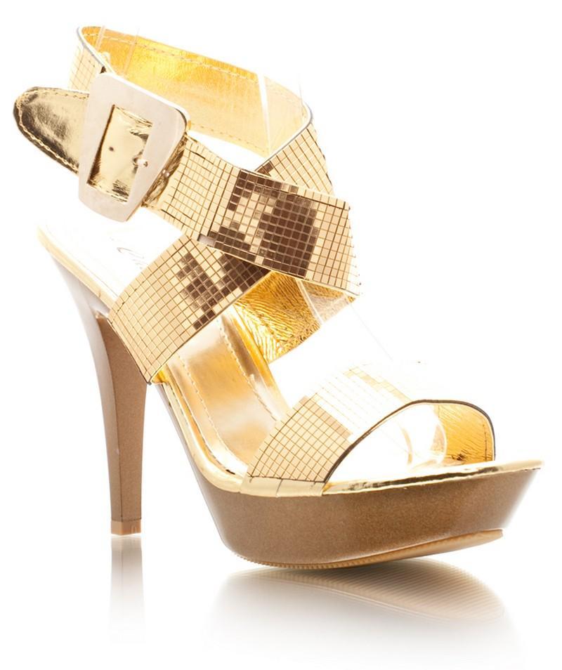 złote szpilki DeeZee - wieczorowe obuwie