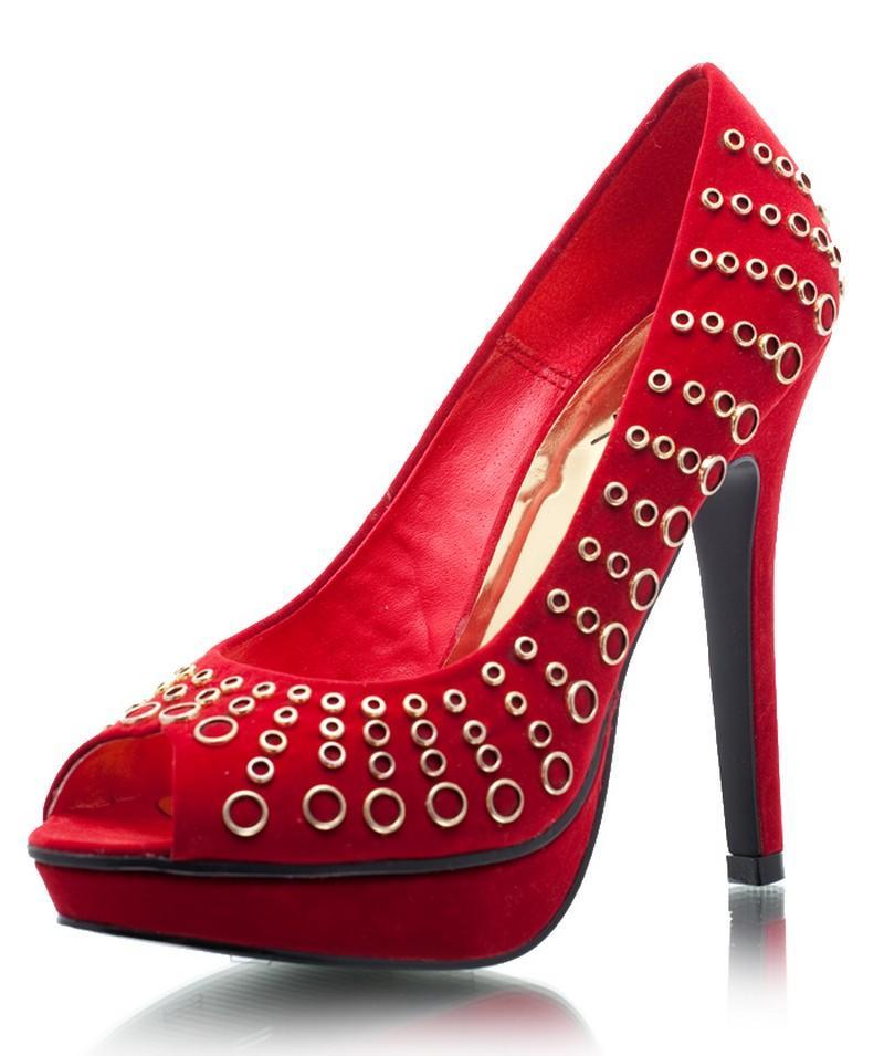 czerwone szpilki DeeZee - wieczorowe obuwie