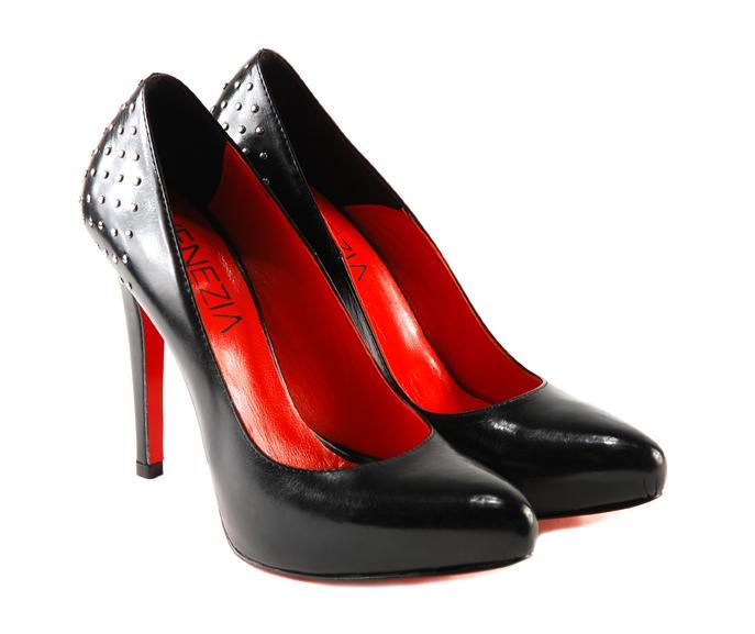 czarne szpilki Venezia ze skóry - wieczorowe obuwie