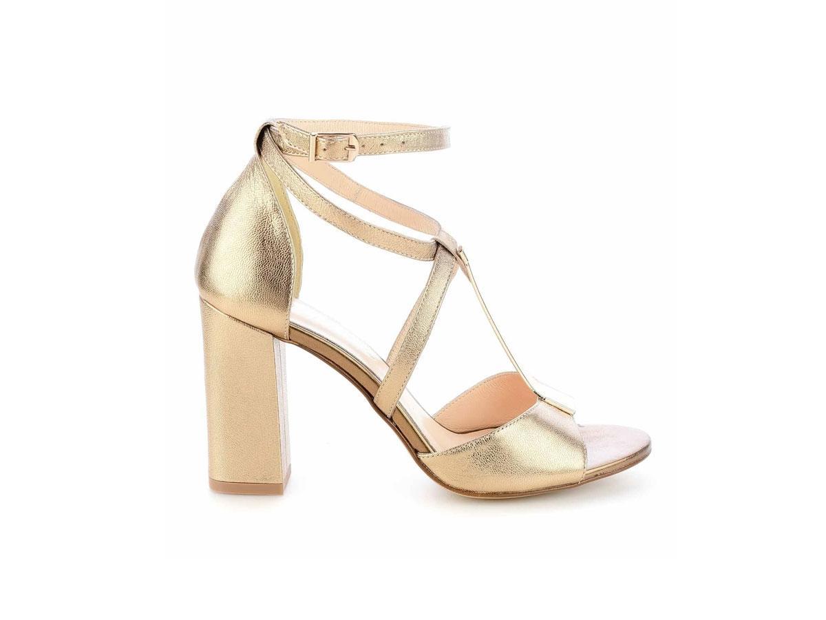 Złote sandały na słupku, Primamoda, cena ok. 399,00 zł