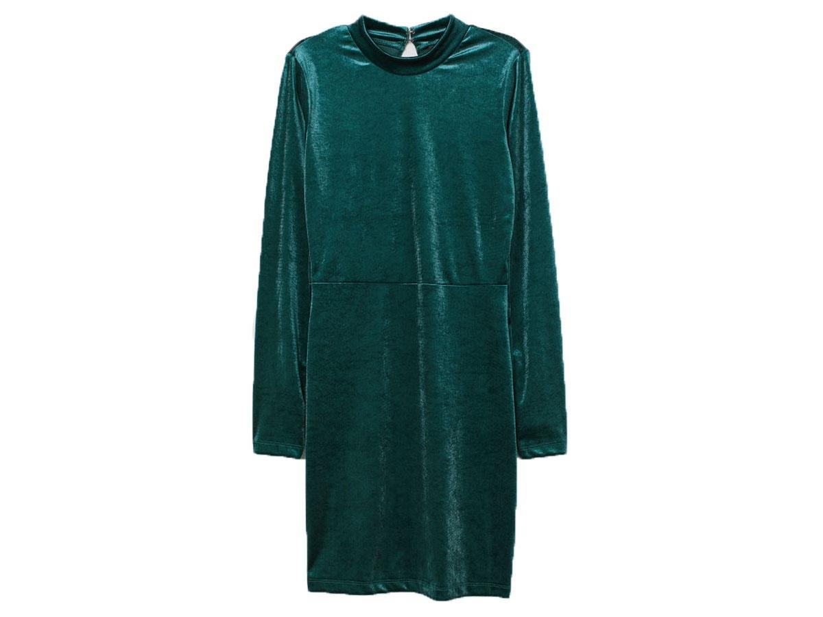 Zielona sukienka z aksamitu, H&M, cena ok. 59,90 zł