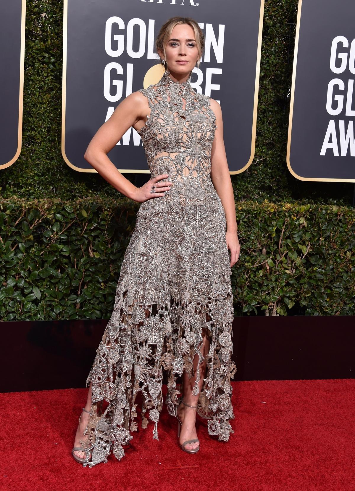 Emily Blunt na rozdaniu Złotych Globów 2019