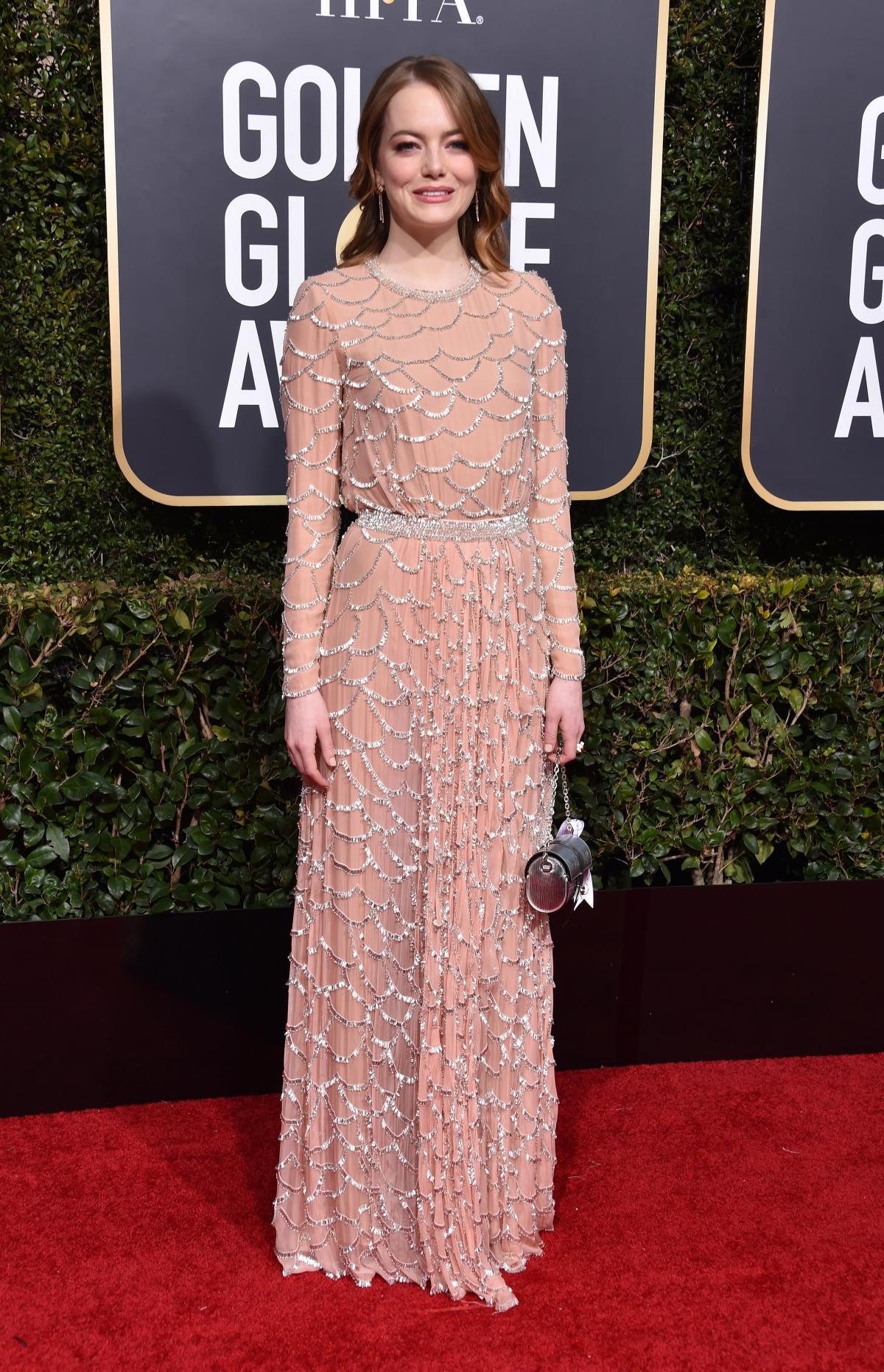 Emma Stone na rozdaniu Złotych Globów 2019