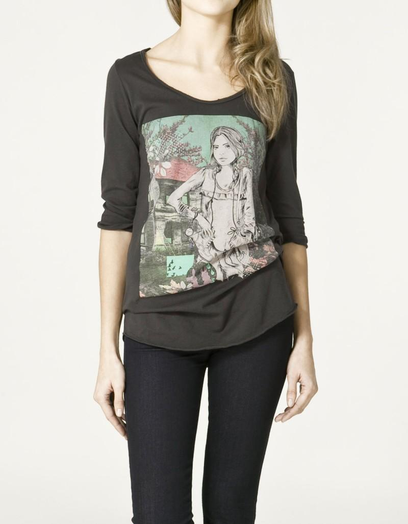 czarna bluzka ZARA z nadrukiem - z kolekcji wiosna-lato 2011