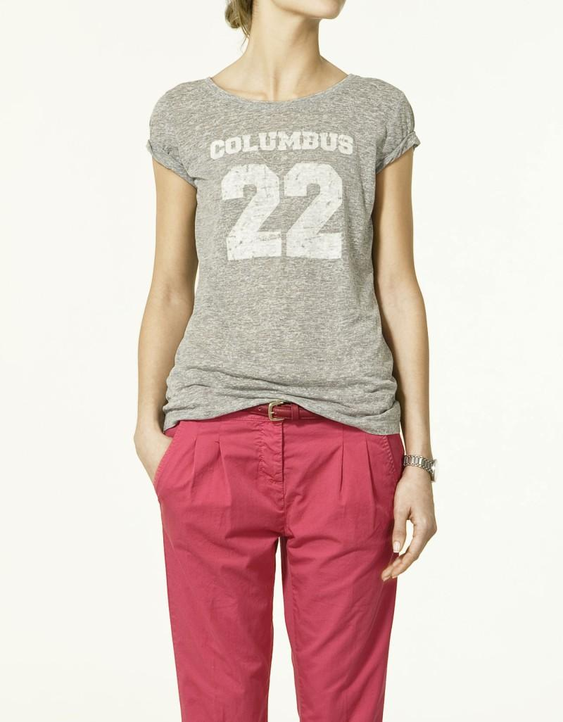 szary t-shirt ZARA - trendy wiosna-lato