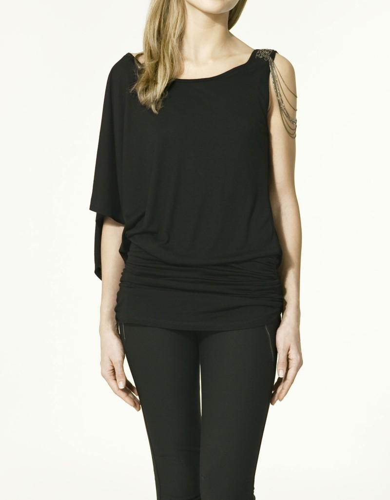 czarna bluzka ZARA asymetryczna - kolekcja wiosenno/letnia
