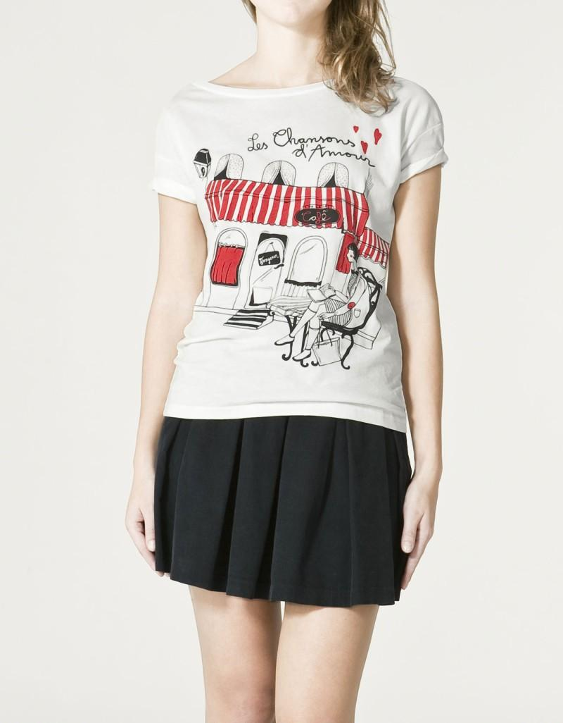 biały t-shirt ZARA z aplikacją - trendy wiosna-lato