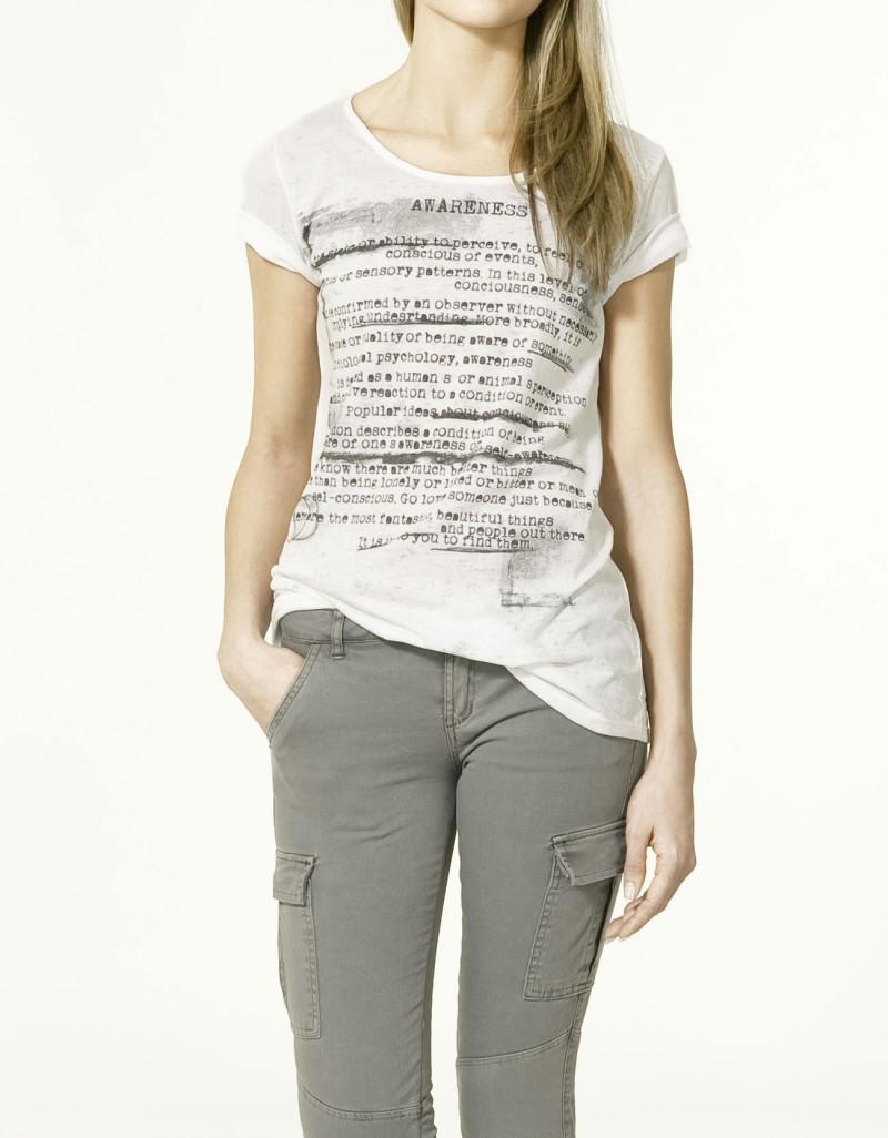 biały t-shirt ZARA - wiosna 2011