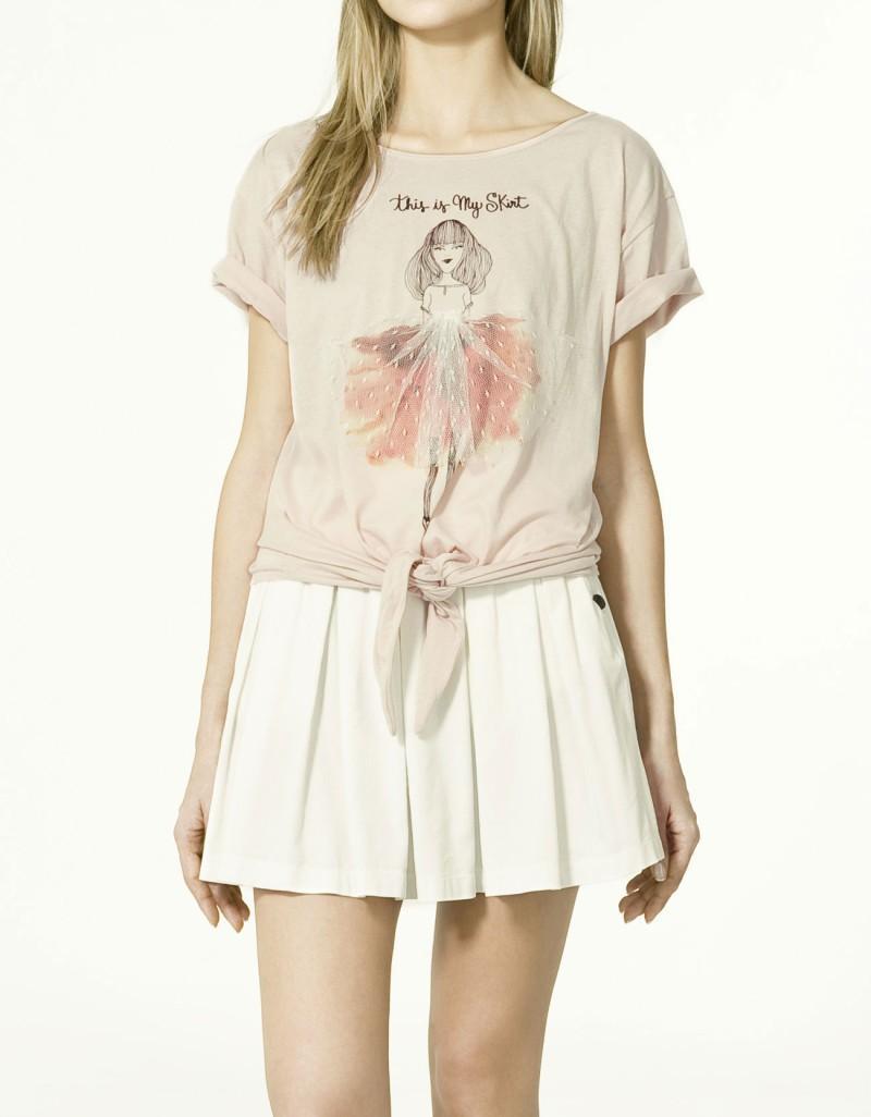ecru koszulka ZARA z aplikacją - wiosna-lato 2011