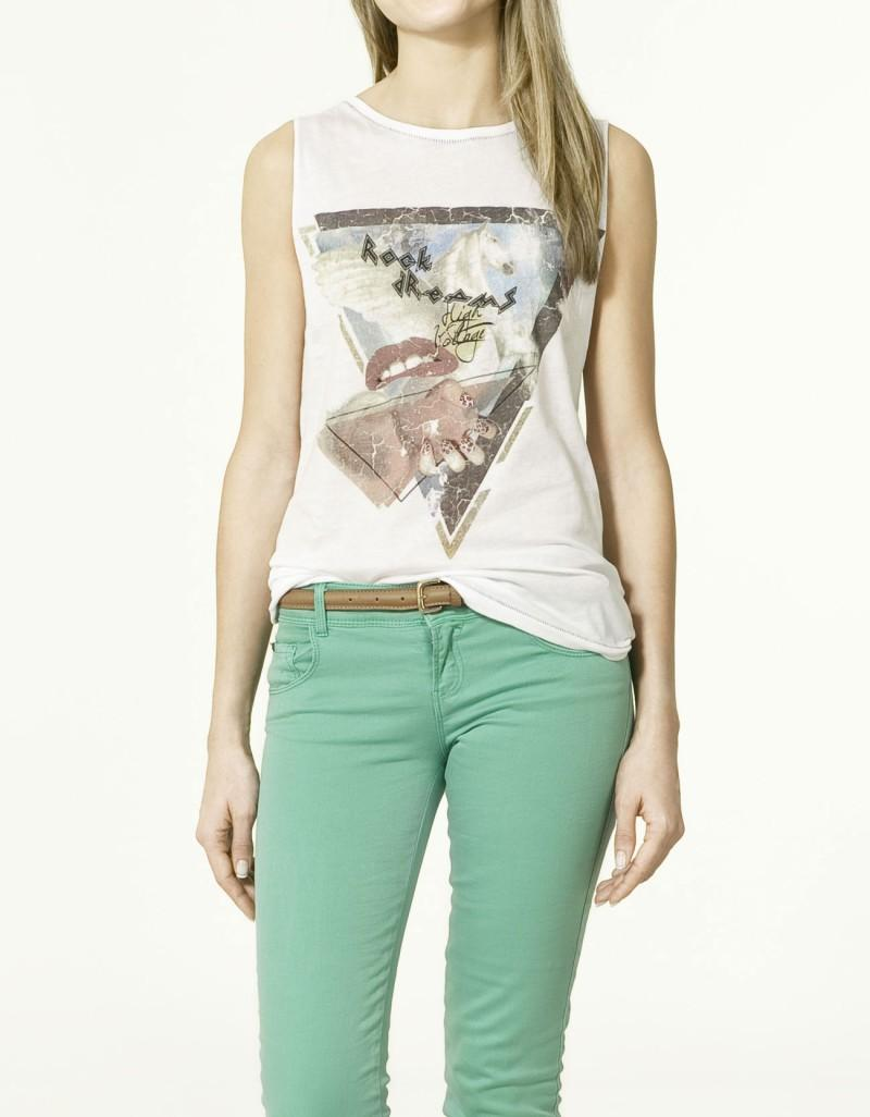 biała koszulka ZARA z aplikacją - kolekcja wiosenno/letnia
