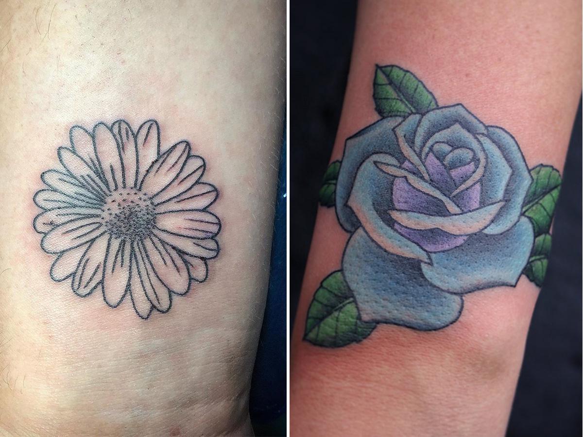 tatuaż na nadgarstku kwiat