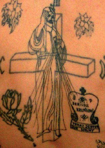 Tatuaże więzienne religijne i firmowe –  galeria