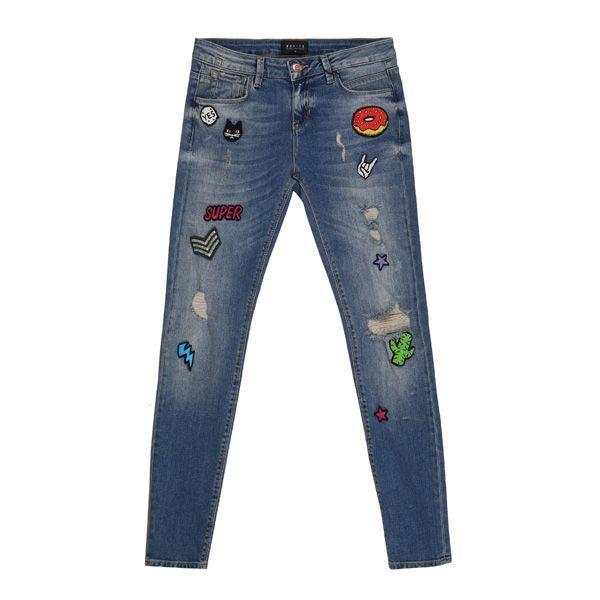 Spodnie dżinsowe z naszywkami Mohito, cena