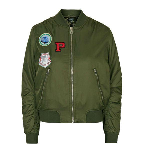 Zielony bomber z naszywkami Topshop, cena