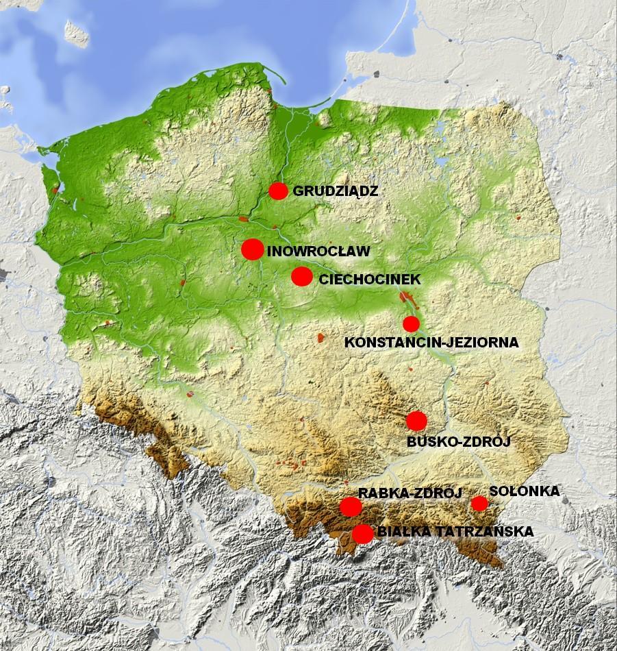tężnie w Polsce mapa
