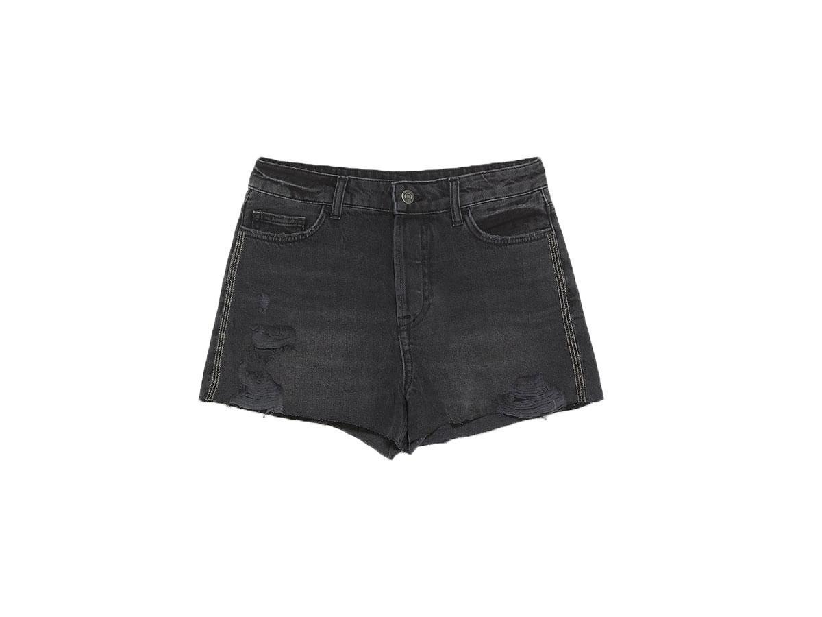 Czarne dżinsowe szorty z wysokim stanem, Zara, cena ok. 89,90 zł