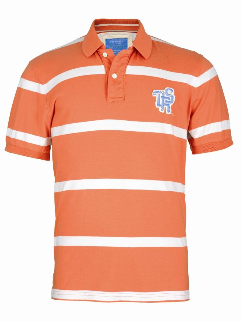 pomarańczowa koszulka Top Secret w pasy polo - moda wiosna/lato