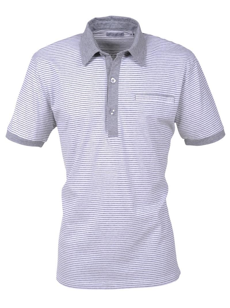 szara koszulka Top Secret w paski polo - moda wiosna/lato