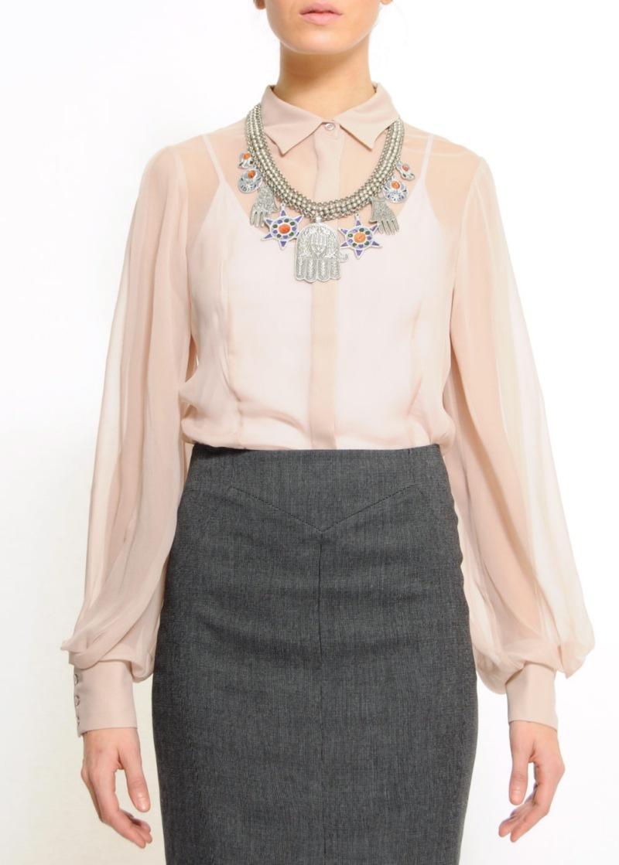 beżowa bluzka Mango - moda wiosna/lato