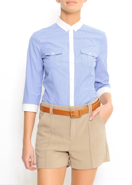 błękitna bluzka Mango z kieszeniami - wiosna/lato 2011