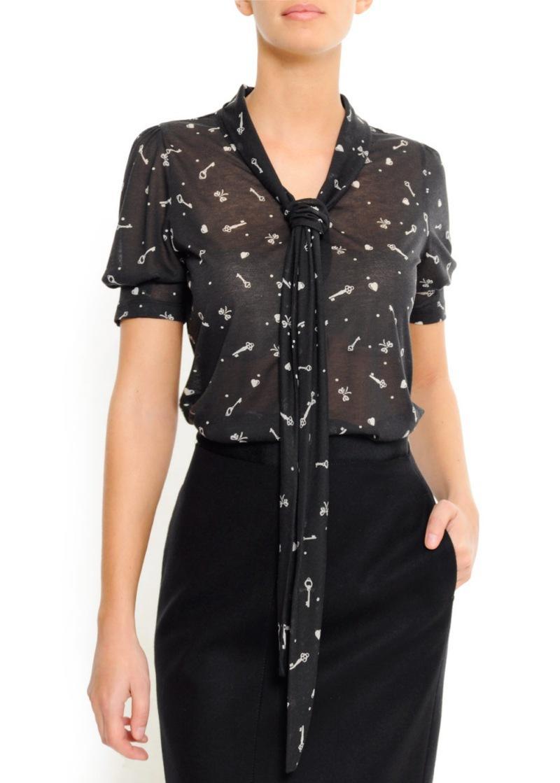 czarna bluzka Mango we wzory - wiosna/lato 2011