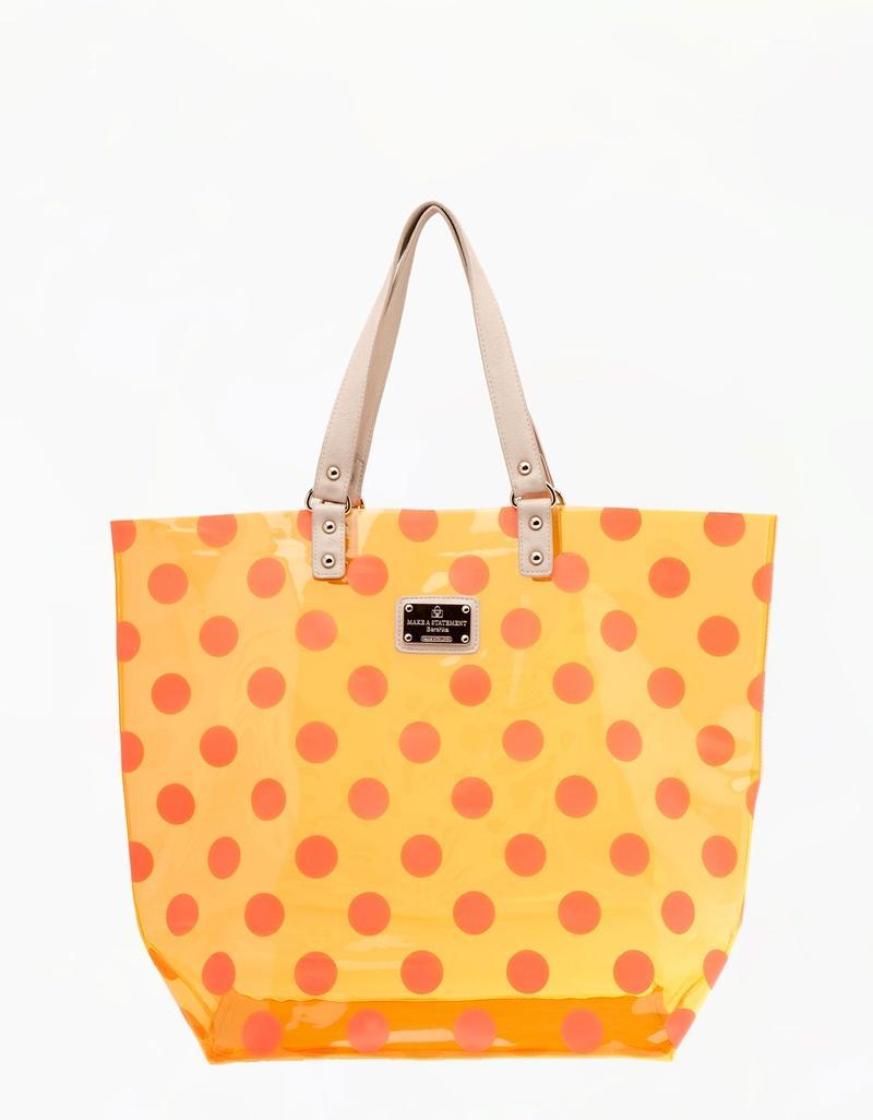 torebka Bershka w groszki w kolorze pomarańczowym - torebki na lato