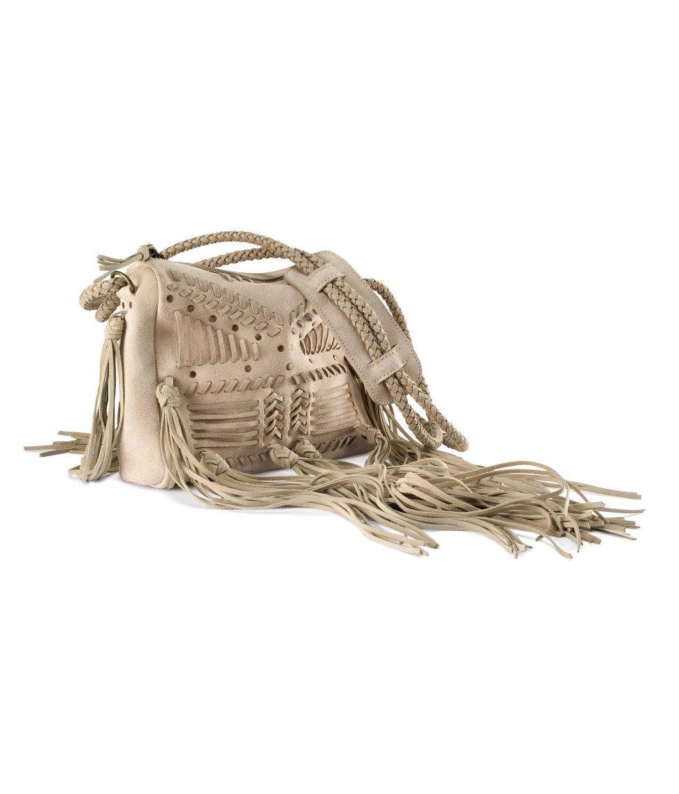 torebka H&M z frędzlami w kolorze beżowym - modne torebki