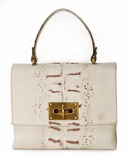 biała torebka Venezia z wężowej skóry - kolekcja wiosenno/letnia