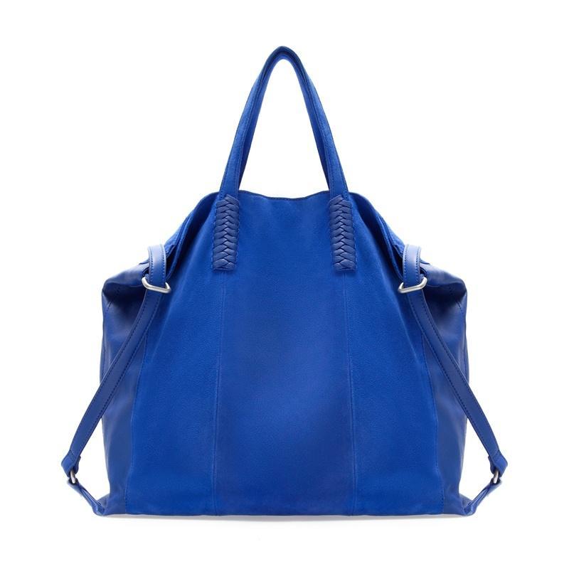 worek - torebka ZARA w kolorze niebieskim - modne torebki