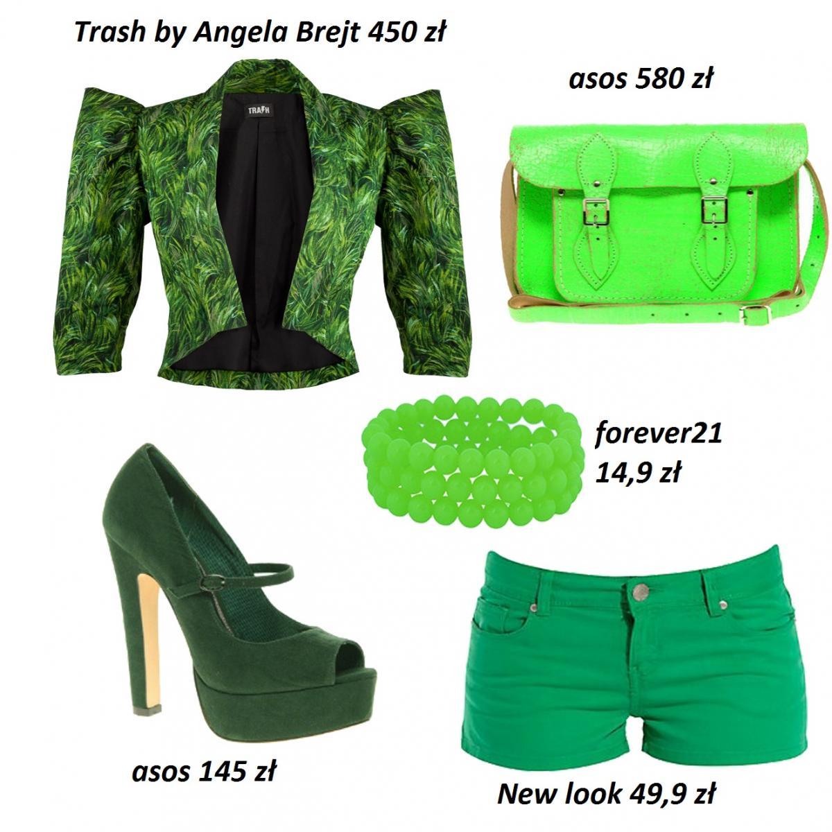 Trawiasta i jaskrawa zieleń - stylizacje w kolorze
