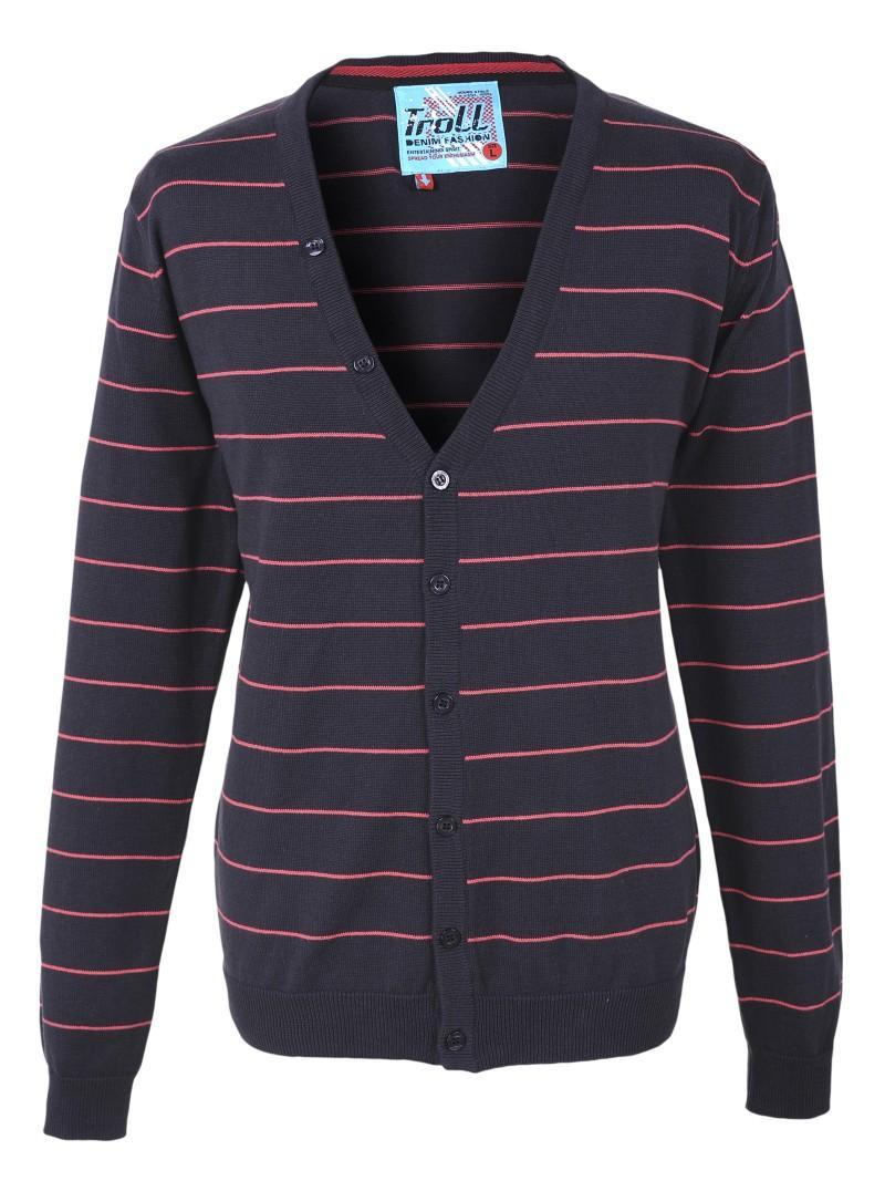 czarny sweter Troll w paski rozpinany - wiosna/lato 2011