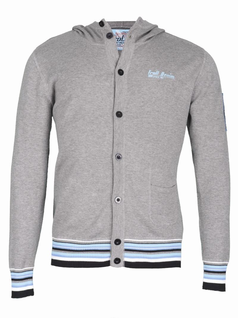 szary sweter Troll z kapturem rozpinany - z kolekcji wiosna-lato 2011