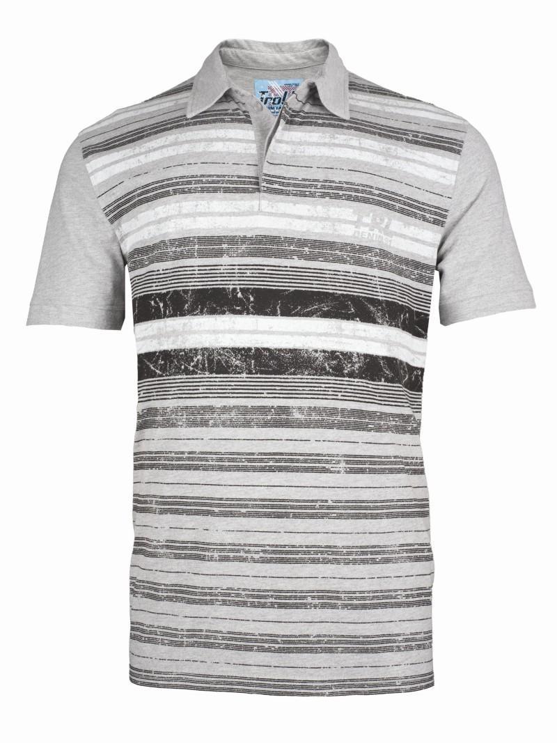 szara koszulka Troll w paski polo - moda wiosna/lato