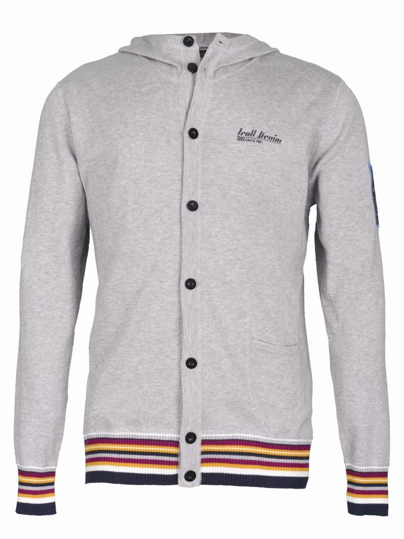 szary sweter Troll z kapturem rozpinany - moda wiosna/lato