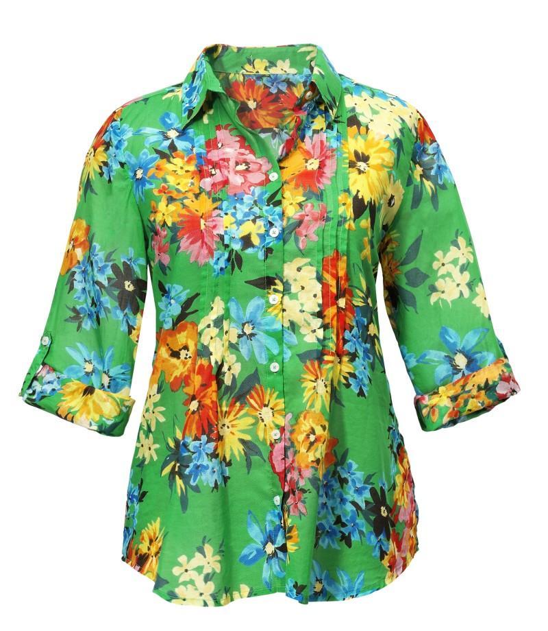 zielona bluzka Van Graaf w kwiaty - sezon wiosenno-letni