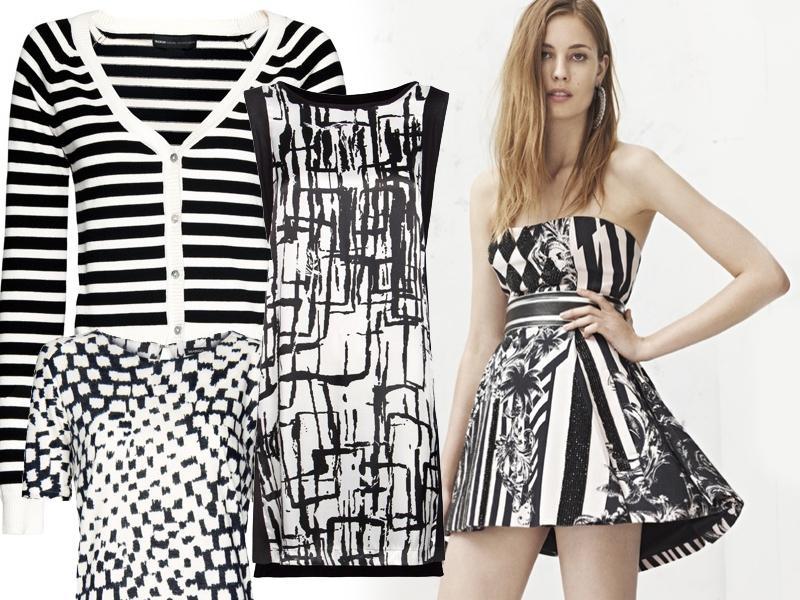 czarno-białe ubrania, Mango 2012