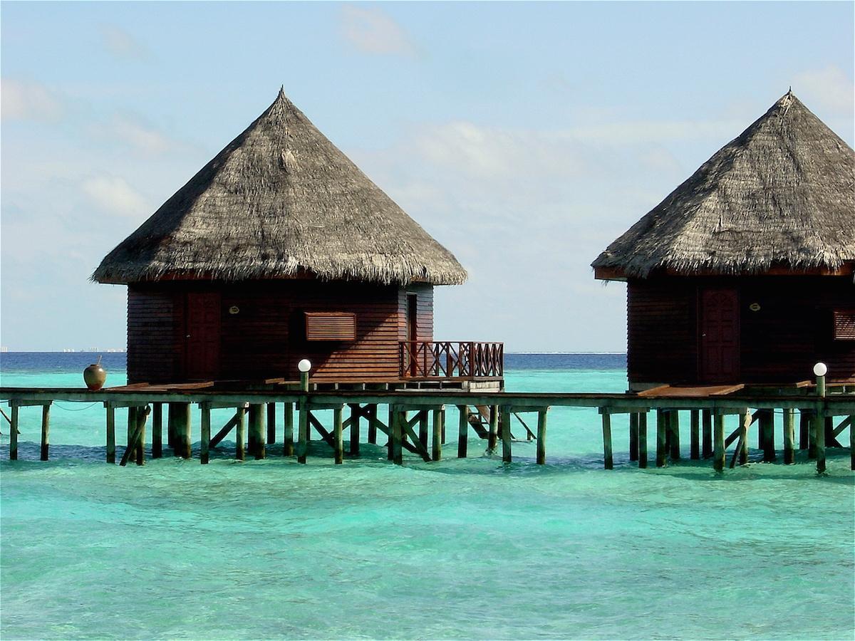 Malediwy, plaża, domki na wodzie