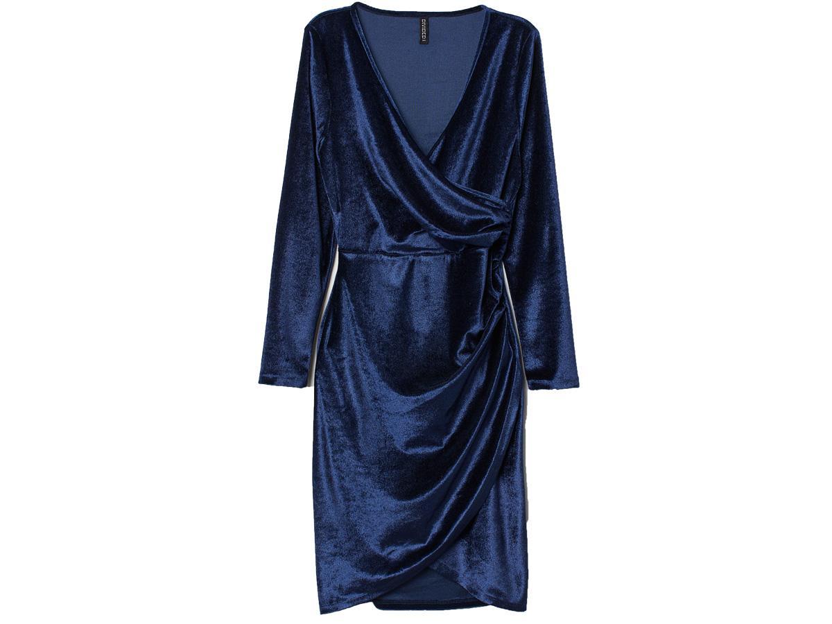 Granatowa welurowa sukienka H&M