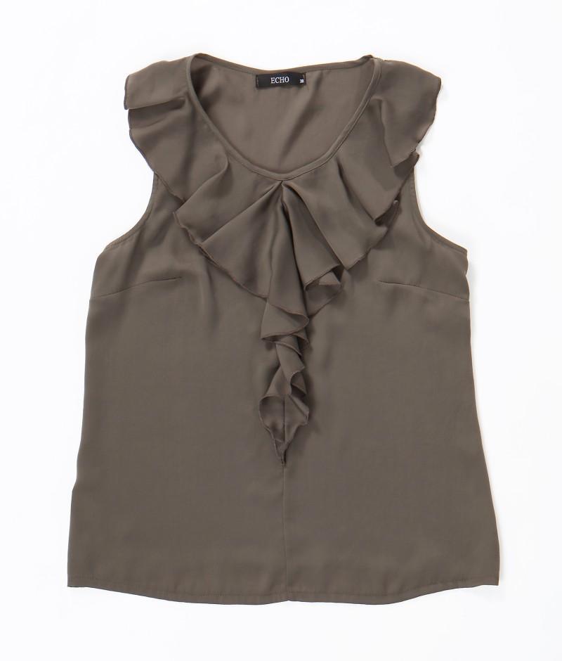 brązowa bluzka Echo z falbanami - moda wiosna/lato