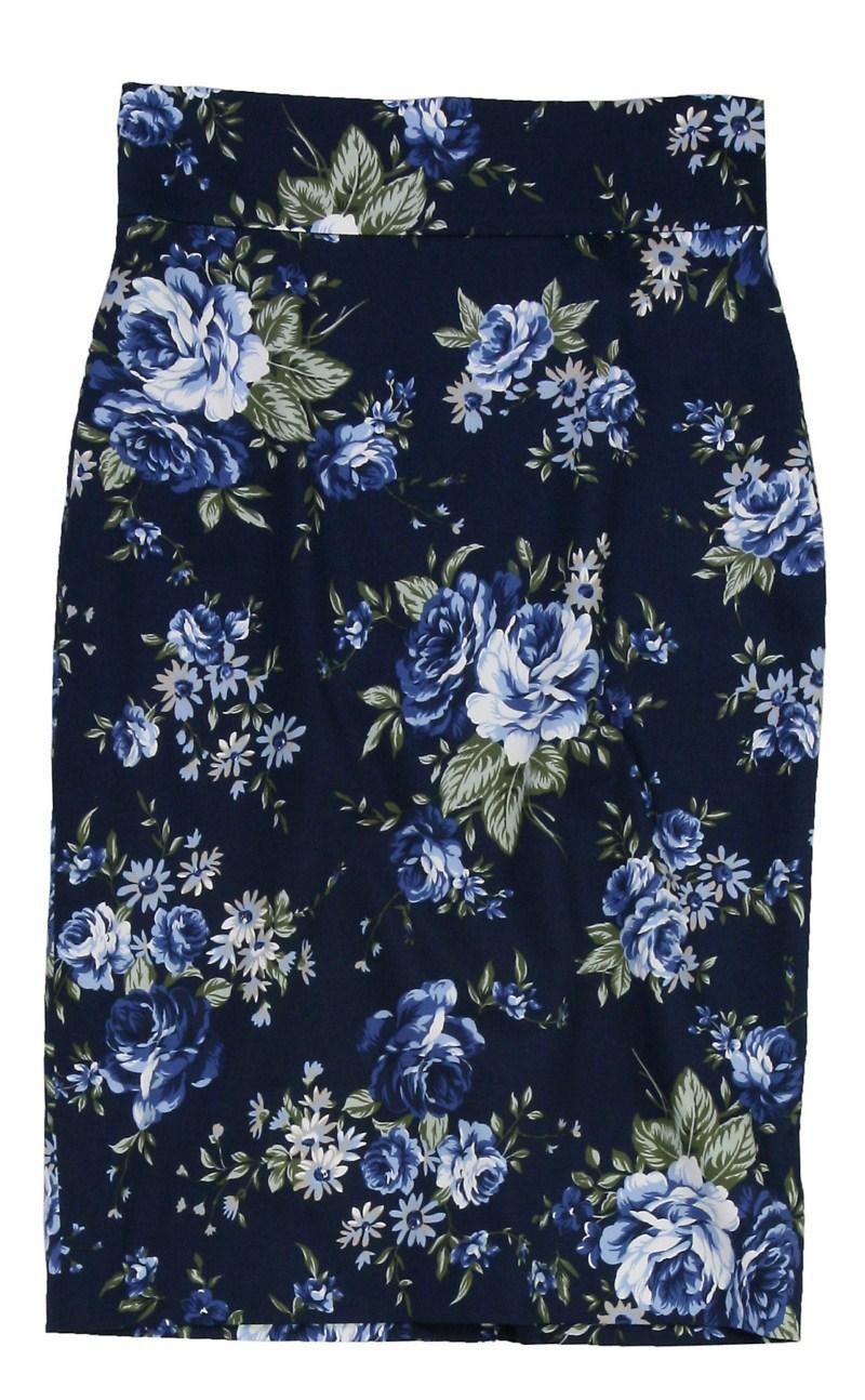 granatowa spódnica Bialcon w kwiaty - wiosna/lato 2011