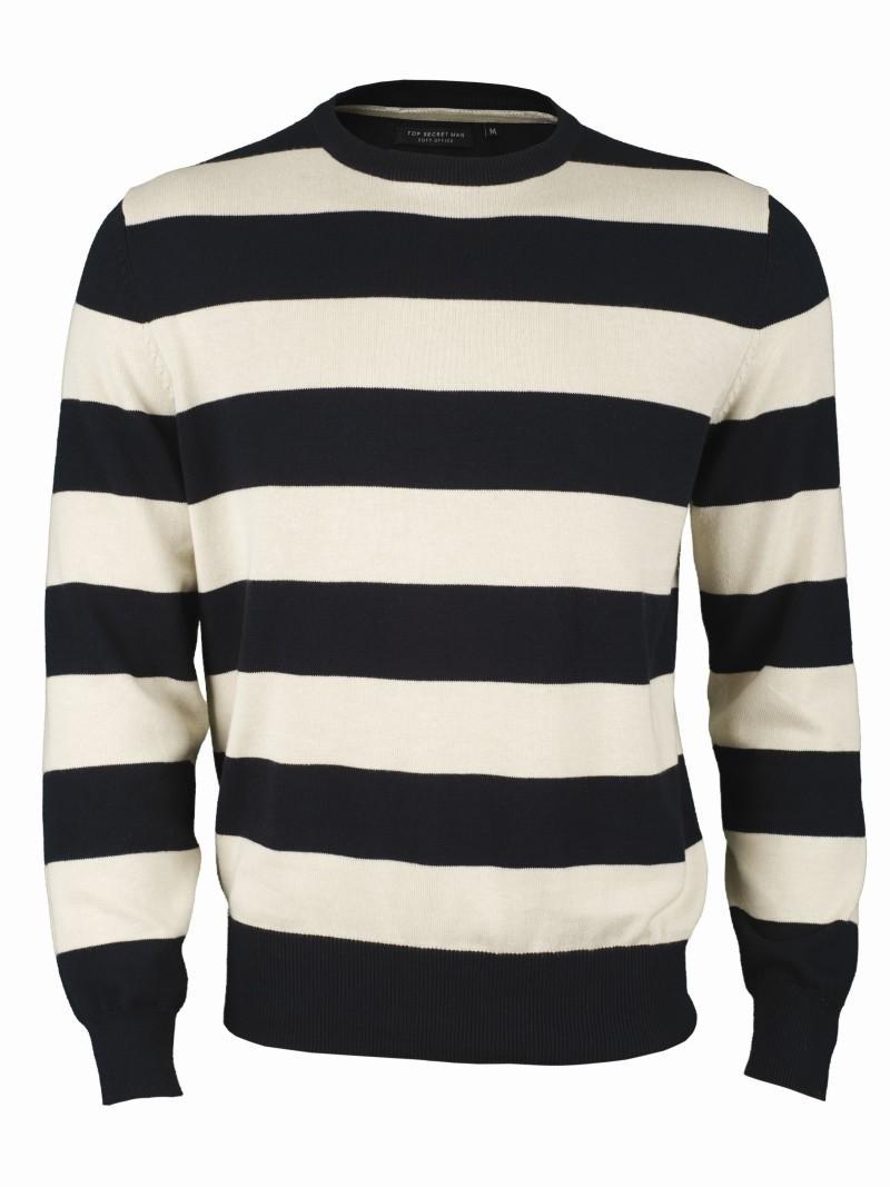 biały sweter Top Secret w pasy - lato 2011