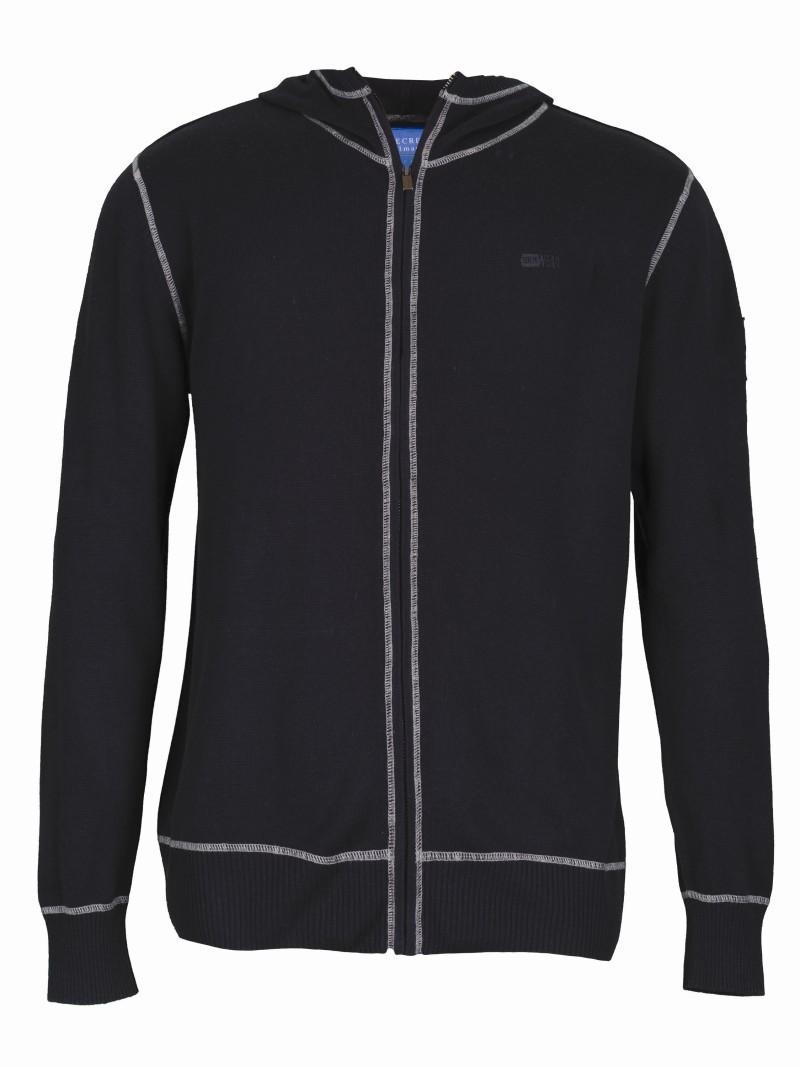 granatowy sweter Top Secret z kapturem rozpinany - kolekcja wiosenno/letnia