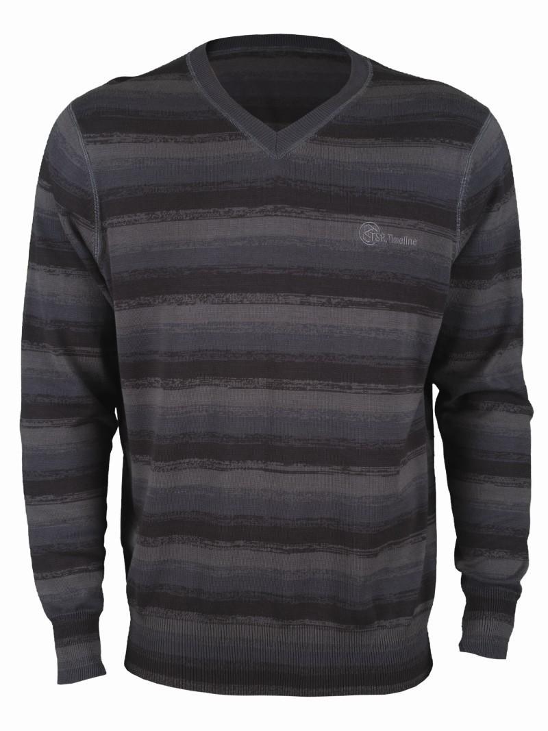 grafitowy sweter Top Secret w paski - kolekcja wiosenno/letnia