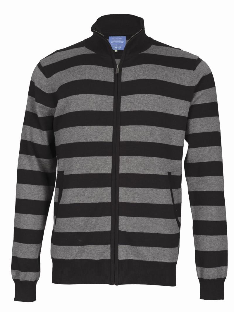 szary sweter Top Secret w pasy rozpinany - kolekcja wiosenno/letnia