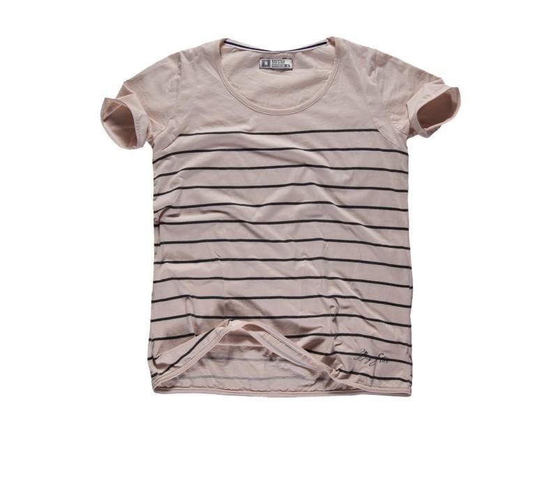 beżowy t-shirt Big Star w paski - kolekcja wiosenno/letnia