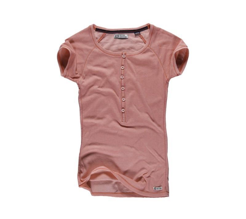 bordowy t-shirt Big Star z guzikami - letnia kolekcja